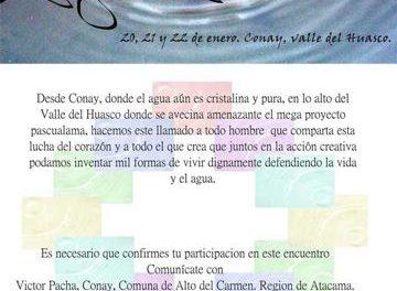 """Encuentro """"el llamado del agua"""" en el valle del Huasco del 20 al 22 de enero"""