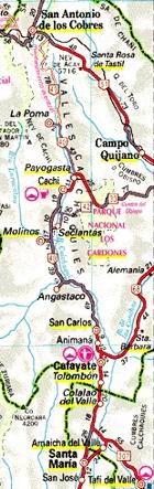 Mapa de la región; Cachi en la parte central de la imágen