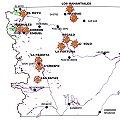 Mapa de Chubut con la exploraciones mineras más avanzadas