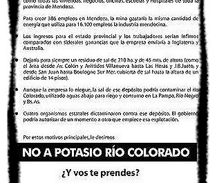 Potasio Río Colorado bendecido por el gobierno nacional y resistido por los pueblos