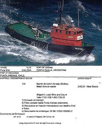 Arriba: el Polar Mist, abajo: guía de carga declarada (gentileza OPI Santa Cruz)