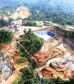 Vista aérea del emprendimiento Petaquillas y si incursión sobre la selva