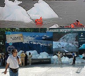 Exhibieron en Buenos Aires 20 toneladas de hielo de un glaciar