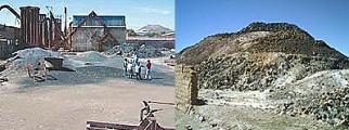 A la izq. parte de la fundición, a la der. la montaña de desechos mineros