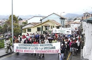 Marcha antiminera en Portovelo