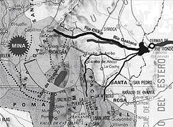 Mapa contaminación subterránea mina La Alumbrera