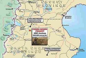 Mapa de ubicación del yacimiento Cº Negro