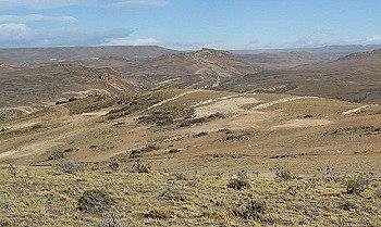 Vista del yacimiento Loma de Leiva de Patagonia Gold