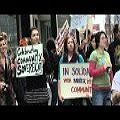 Manifestación contra reunión de accionistas de la Barrick