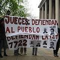 Defensa Ley 7722: acampe desde la vereda del Palacio Judicial