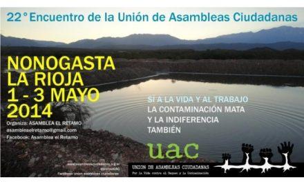 En Nonogasta se hará el 22° Encuentro de la Unión de Asambleas Ciudadanas