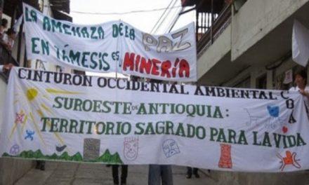 Siguen las manifestaciones pacíficas contra la minería en Antioquía