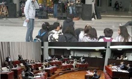 Dentro de la legislatura puesta en escena de diputados, afuera concurrido festival en respaldo a la Iniciativa Popular