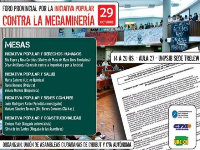 """Este miércoles se hará el """"Foro Provincial por la Iniciativa Popular, contra la megaminería"""""""