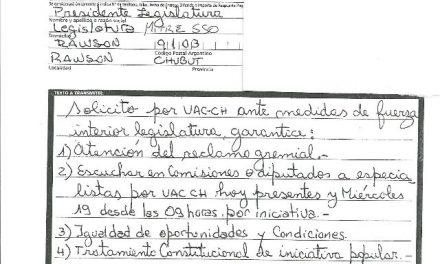 Asambleas chubutenses enviaron telegrama a Legislatura exigiendo garantías para el tratamiento de la Iniciativa Popular