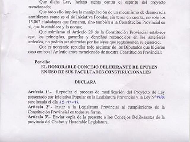 El Concejo Deliberante de Epuyen repudia la ley sancionada por la Legislatura