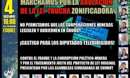 Mañana 4 habrá movilizaciones simultáneas en todo Chubut por la anulación de la ley dictada por las mineras