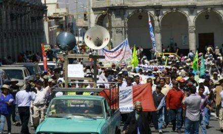 Gremios sociales y sindicatos marcharon en contra de proyecto minero Tía María