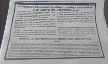 Solicitada de organizaciones y asambleas mendocinas en defensa de la ley 7722