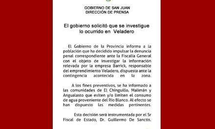 Gobierno de San Juan pide a tres localidades que no consuman agua por el derrame de cianuro en Veladero
