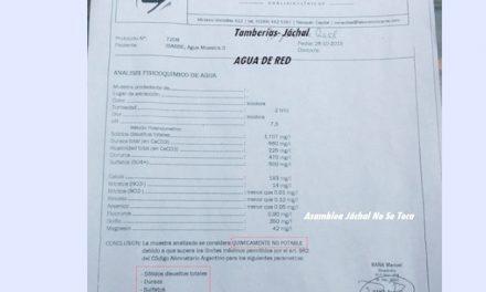 Análisis del agua cercana a Jáchal dice que «no es apta para el consumo humano»
