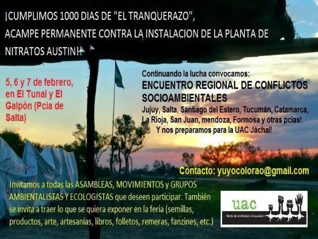 Encuentro regional a 1.000 días de acampe contra planta de explosivos