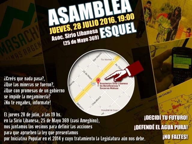 """Asamblea de vecinos en Esquel """"porque las mineras no se fueron y las promesas del gobierno no alcanzan"""""""