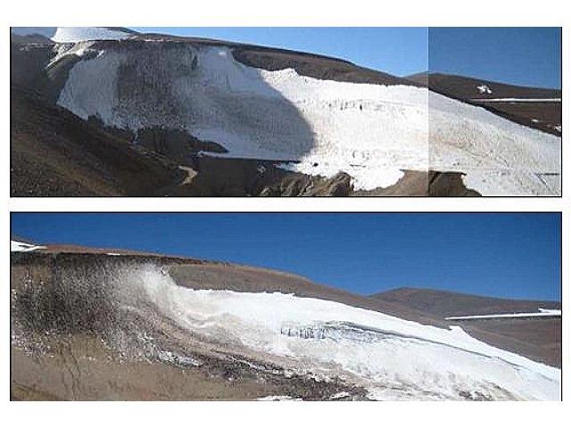 Así están los glaciares que Barrick Gold cortó para hacer un camino