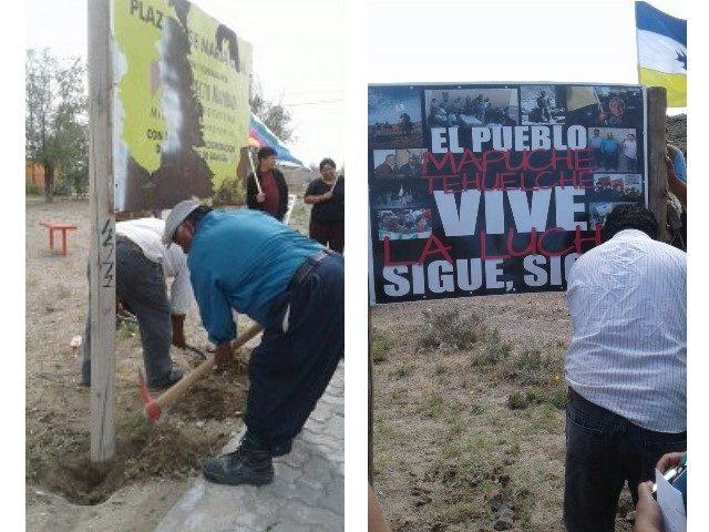 Comunidad mapuche retiró el cartel de una empresa minera en Gan Gan