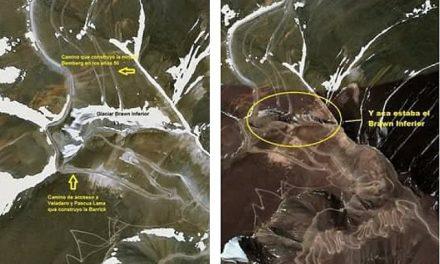 Las imágenes que prueban que Barrick Gold arrasó con -al menos- un glaciar