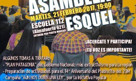 Este martes 21 habrá asamblea de vecinos por el NO A LA MINA en Esquel