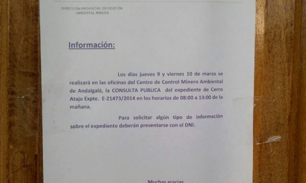 Los vecinos objetaron e impugnaron consulta pública del proyecto minero Cerro Atajo