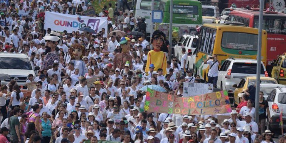 Marcharon 16  mil personas en Quindío contra de la minería
