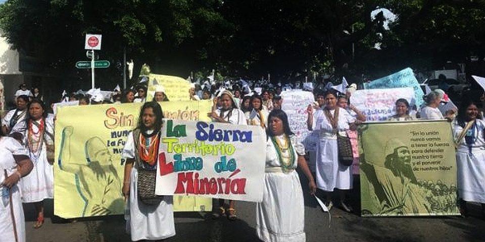 Indígenas marcharon contra la minería en Sierra Nevada