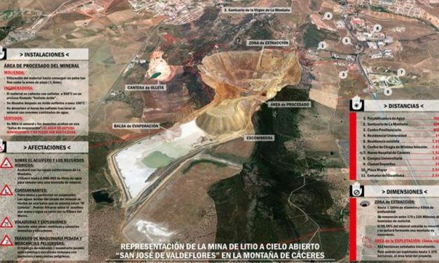 La mina de litio de Cáceres tendría un «cráter» de un kilómetro de ancho