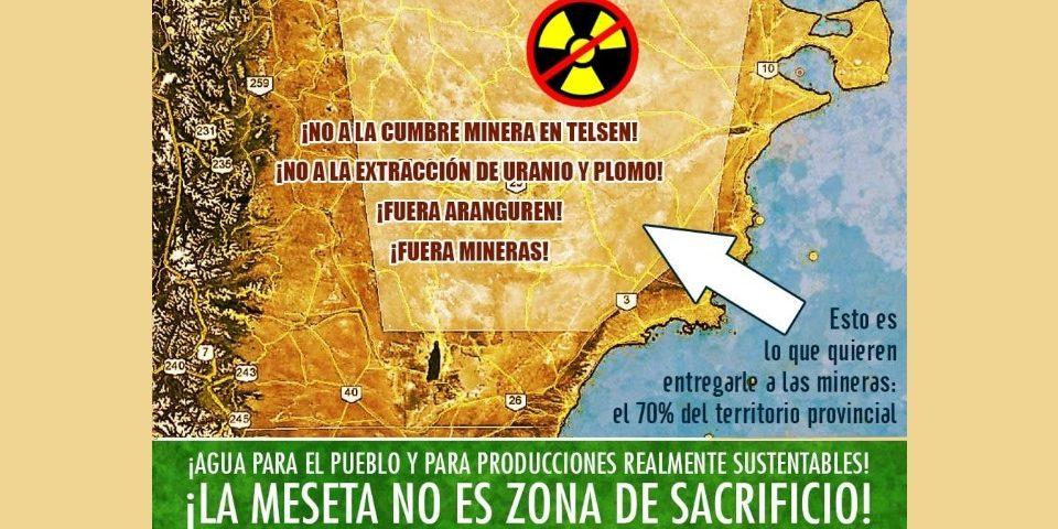 Pobladores urbanos y rurales rechazan cumbre minera de Telsen comandada por Aranguren