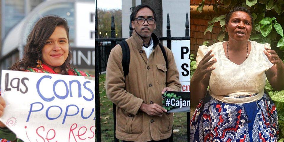 Retrato de tres personas que defienden la tierra, la vida y el agua