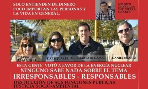 Repudio a intendente y concejales de Sierra Grande por derogar ordenanza antinuclear